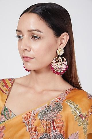 Gold Finish Kundan Chandbali Earrings by Belsi'S Jewellery