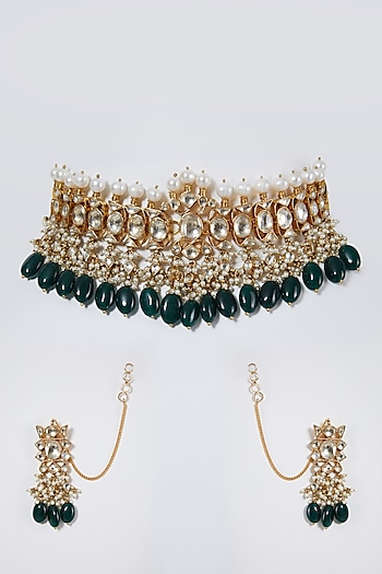 Gold Finish Green Drop Choker Necklace Set by Belsi'S Jewellery