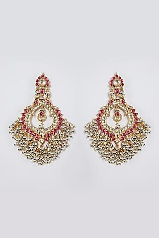Gold Finish Pearl Earrings by Belsi'S Jewellery