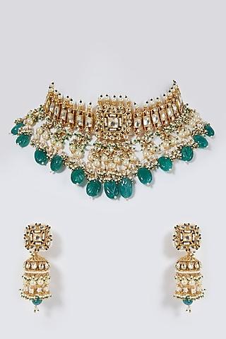 Gold Finish Jadau Choker Necklace Set by Belsi'S Jewellery