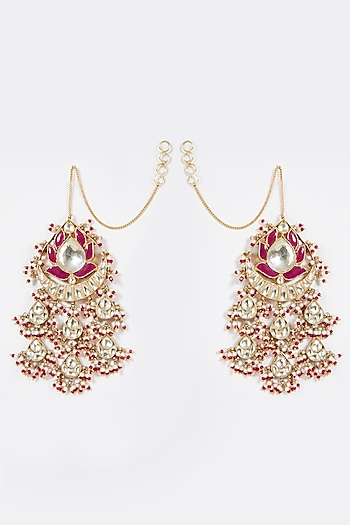 Gold Finish Pink Stone Earrings by Belsi'S Jewellery