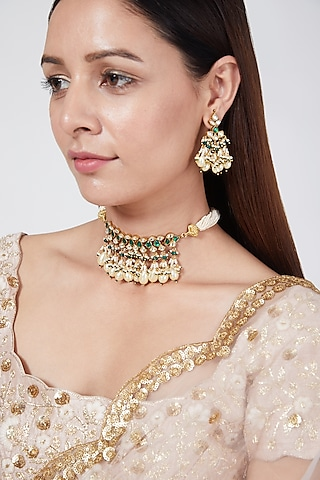 Gold Finish Beaded Necklace Set by Belsi'S Jewellery