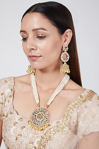 Gold Finish Floral Pendant Necklace Set by Belsi'S Jewellery
