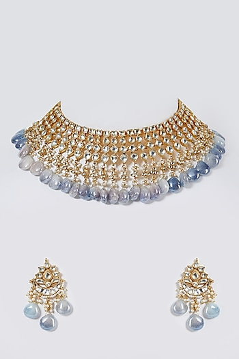 Gold Finish Blue Stone Necklace Set by Belsi'S Jewellery