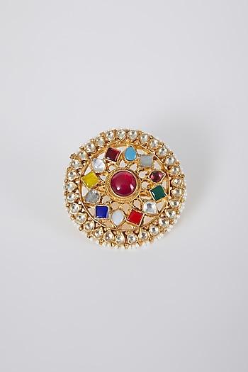 Gold Finish Navratna Stone Ring by Belsi'S Jewellery