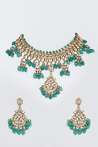 Gold Finish Green Stone Choker Necklace Set by Belsi'S Jewellery