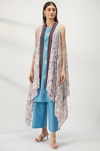 White Printed Handcrafted Cape Jacket by Be True
