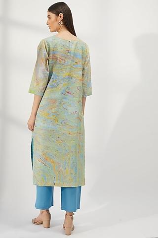 Sky Blue Silk Straight Cut Kurta by Be True