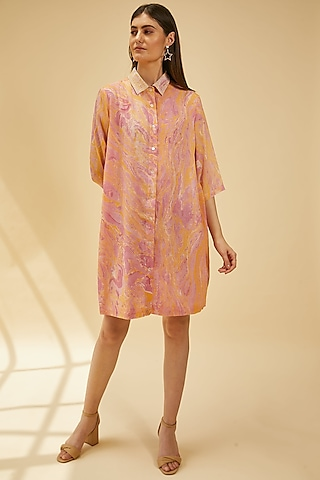 Peach Embroidered Shirt Tunic by Be True