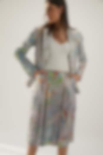 Sky Blue Silk Printed Pleated Skirt by Be True