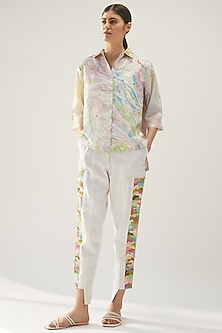 White Hand Embroidered Paneled Pants by Be True