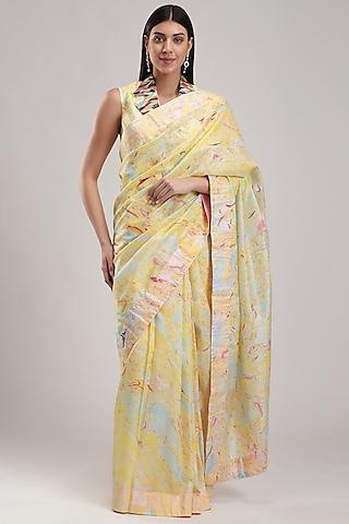 Yellow Silk Printed Saree by Be True