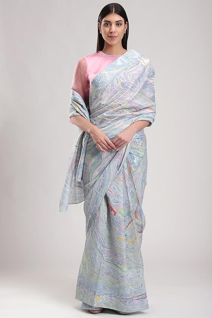 Blue Silk Printed Saree by Be True