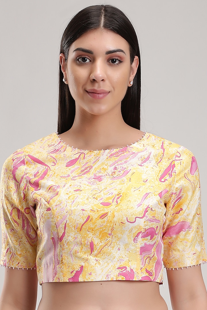 Peach Printed Handcrafted Blouse by Be True