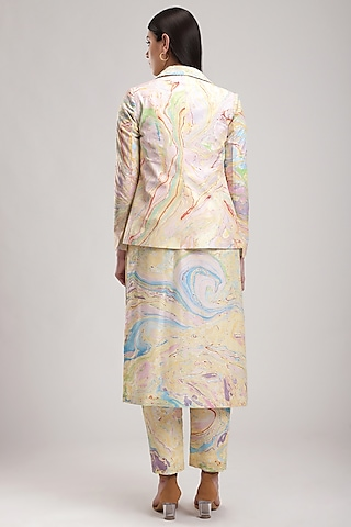 Yellow Handcrafted Marble Printed Jacket by Be True