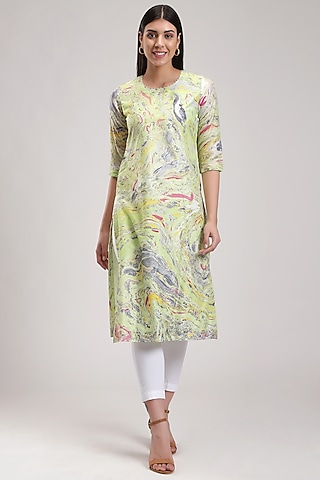 Green Handcrafted Marble Printed Kurta by Be True