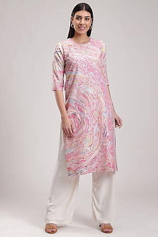 Pink Handcrafted Marble Printed Kurta by Be True
