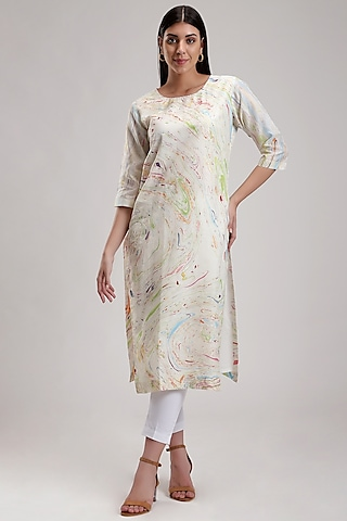 White Handcrafted Marble Printed Kurta by Be True