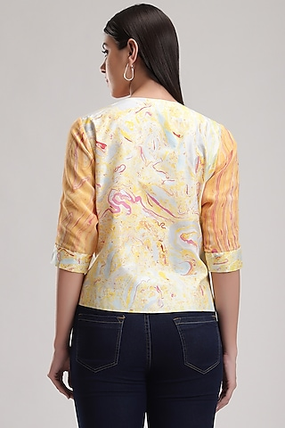 Peach Marble Printed Jacket by Be True
