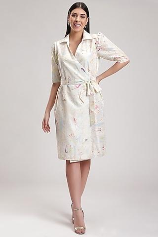 White Tie-Dye Wrap Dress by Be True