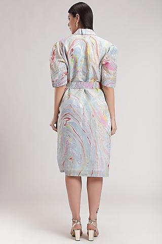 Blue Tie-Dye Wrap Dress by Be True