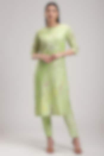 Green Embroidered Kurta Set by Be True