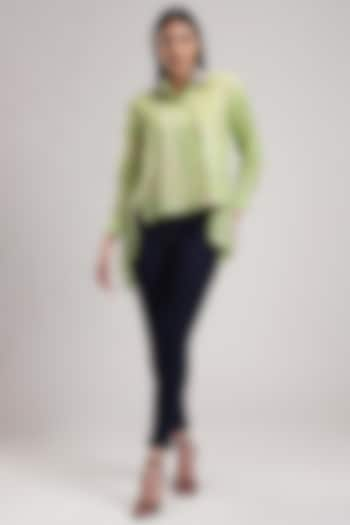 Green Embroidered Asymmetrical Shirt by Be True