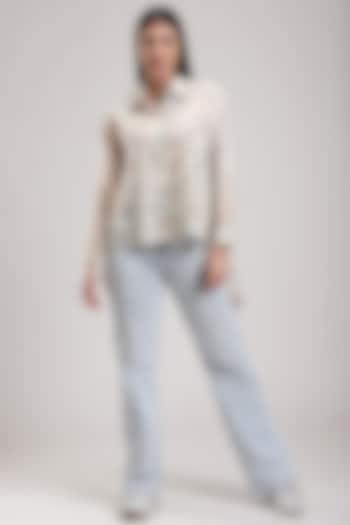 White Batik Printed Asymmetrical Shirt by Be True