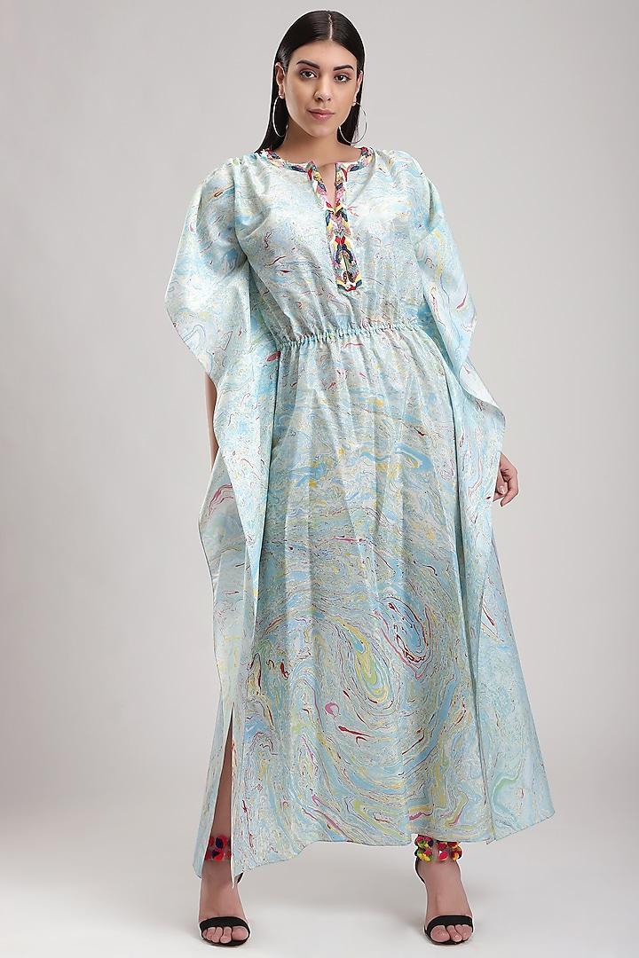 Sky Blue Printed Kaftan Dress by Be True