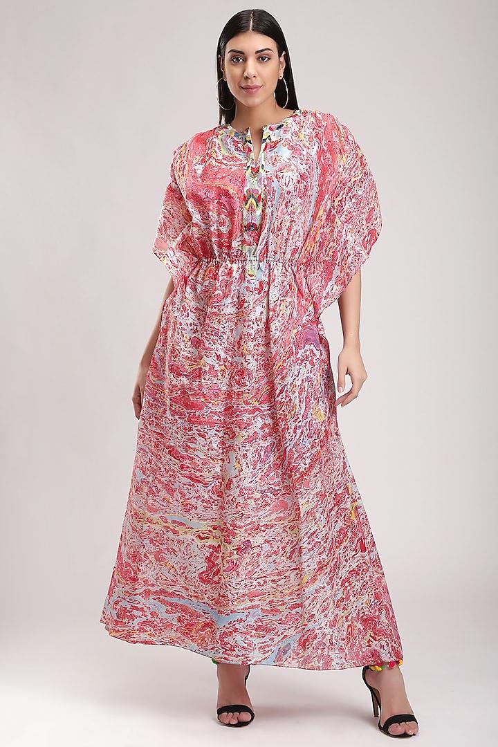 Red Printed Kaftan Dress by Be True