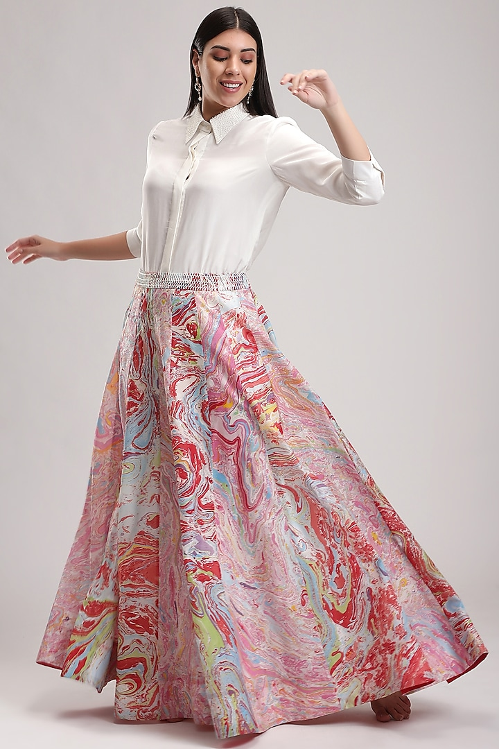 Red & Pink Printed Skirt Set by Be True