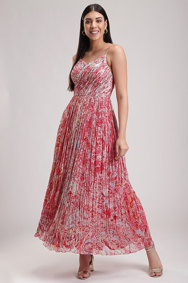 Red Handcrafted Printed Dress by Be True