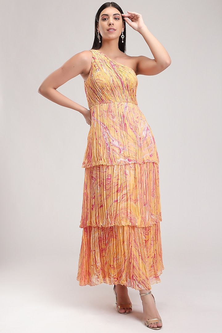 Peach Handcrafted Printed Carpet Dress by Be True