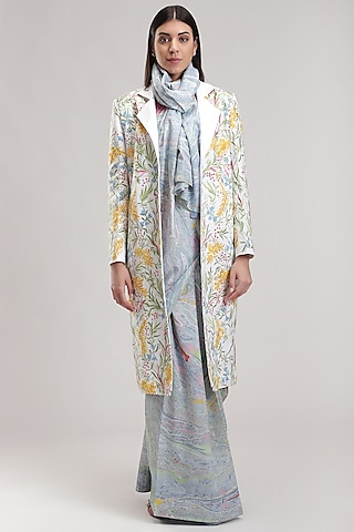 White Printed Linen Trench Coat by Be True