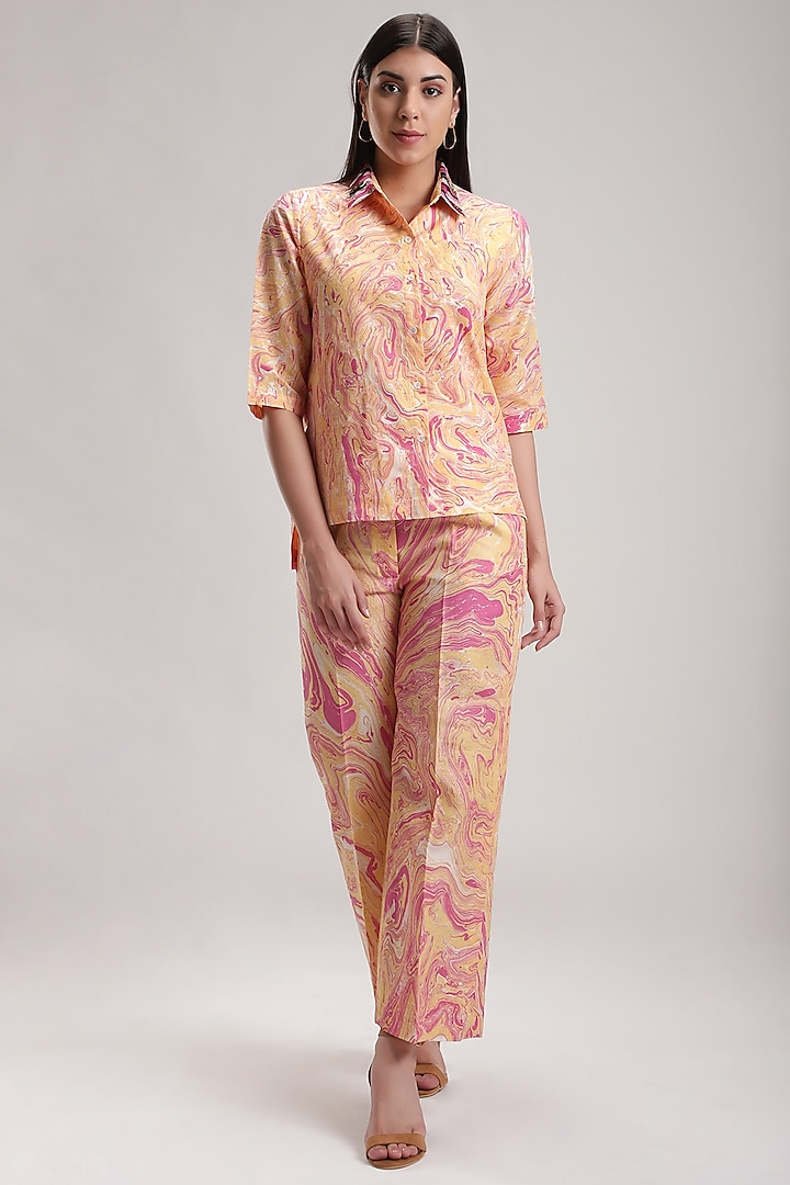 Peach Handcrafted Silk Pant Set by Be True