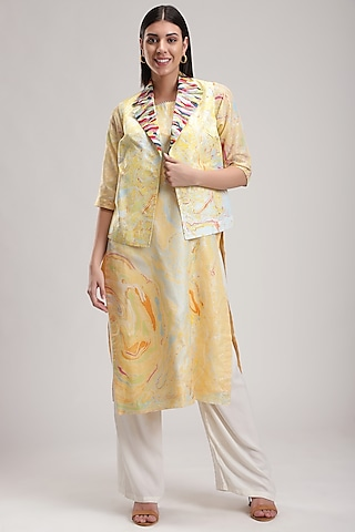 Yellow Embroidered & Printed Waistcoat by Be True