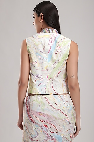 White Sequins & Embroidered Waistcoat by Be True