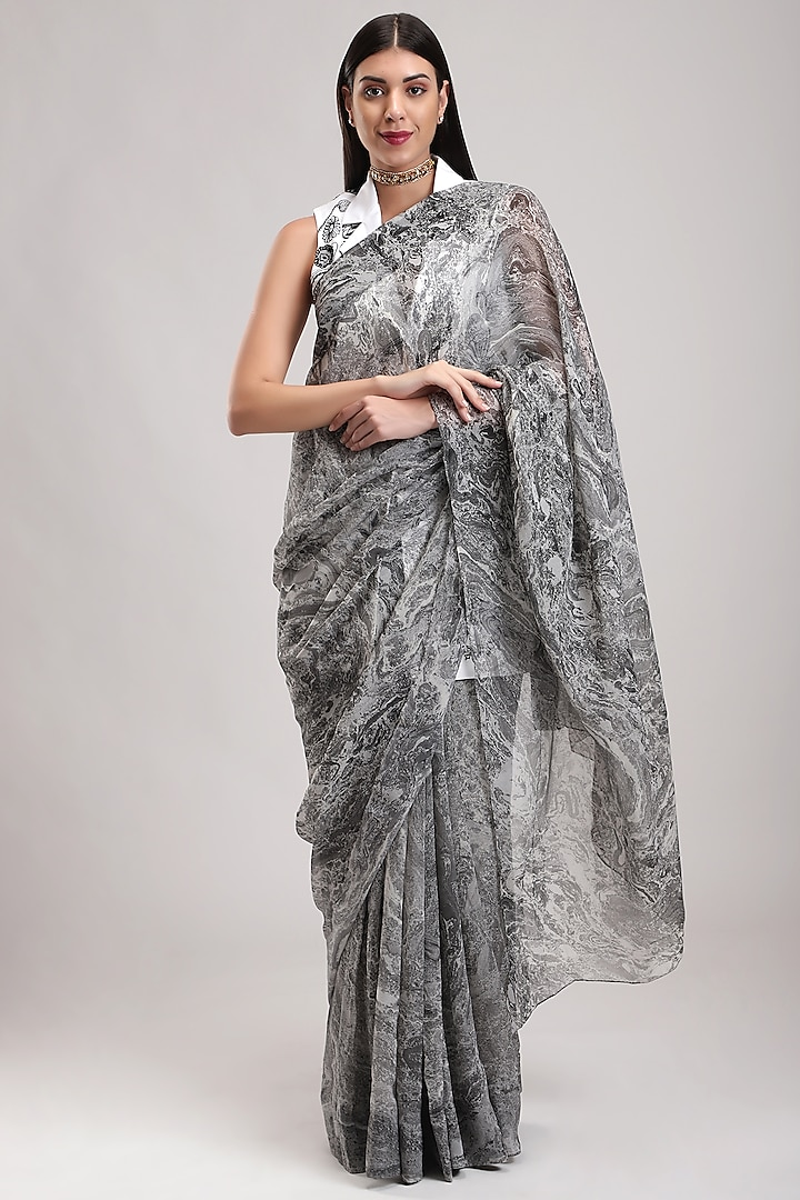 Grey Handcrafted Chiffon Saree by Be True