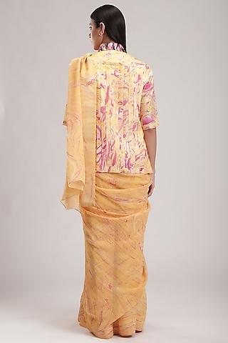 Peach Printed Saree by Be True