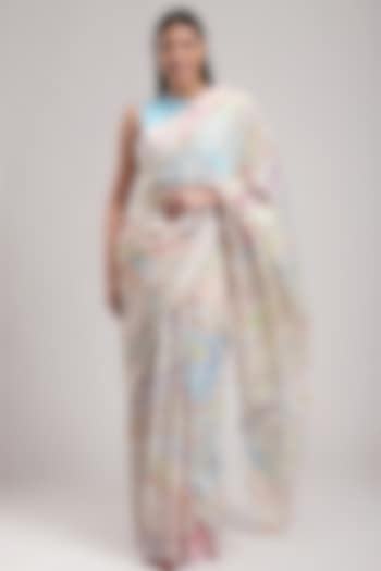 White Printed Handcrafted Saree by Be True