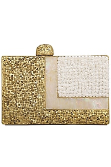 Gold Pearls Embellished Clutch by Be Chic