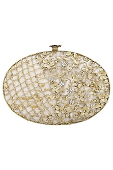 Dull Gold Pearls Embellished Clutch by Be Chic