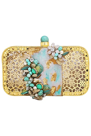 Gold Crystals and Beads Embellished Clutch by Be Chic