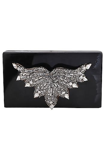 Black Crystals Embellished Clutch by Be Chic