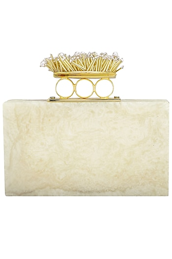 Ivory Embellished Finger Ring Clutch by Be Chic