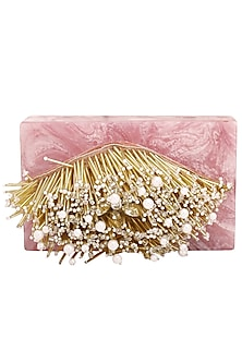 Ivory and Pink Embroidered Clutch by Be Chic