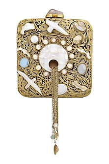 Dull Gold Stone Embellished Clutch by Be Chic