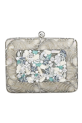 Silver Embroidered Clutch by Be Chic