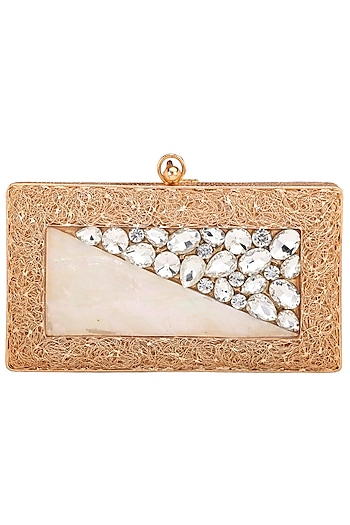 Rose Gold Embellished Clutch by Be Chic