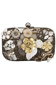 Oxidised Natural Stone Embellished Clutch by Be Chic